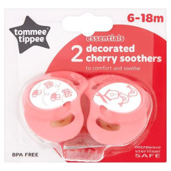 Tommee Tippee Basics Decorated Cherry Soothers 6-18 months X2, Pink