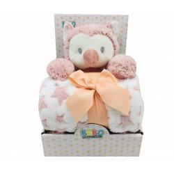 بطانية مع ألعاب - مفرد - بومة 75 × 100 سم - زهري من نوفا