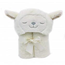 بطانية منشفة بغطاء للرأس (75 × 100 سم) - اللون: كريمي