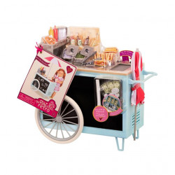 """Our Generation by Battat- Retro Hot Dog Cart- Toy, Cart & Accessory Set for 18"""" Dolls- for Age 3 Years & Up"""