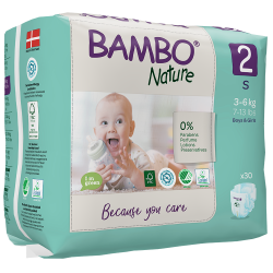 Bambo Nature Diapers Size 2 (3-6 kg), 30 diapers