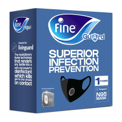 Fine Guard N95 Face Mask With Livinguard Technology, Infection Prevention- Medium