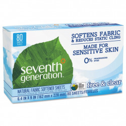 Seventh Generation - Natural Fabric Softener Sheets (Free & Clear), 80 Sheets