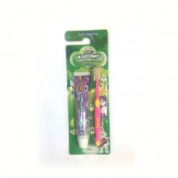 Kodomo 2 in 1 Zig Zag Brush and Toothpaste, Pink