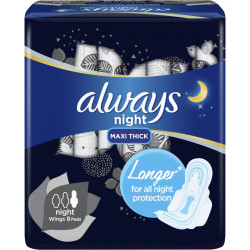Always Clean & Dry Maxi Thick, Night sanitary pads with wings, 8 pads