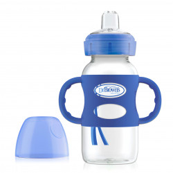 Dr. Brown's 270 ml Wide-Neck Options+ Sippy Bottle w/ Silicone Handles, Blue