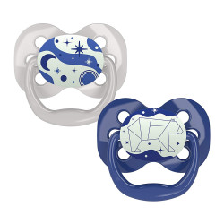 Dr. Brown's Advantage Pacifier - Stage 1, Glow in the Dark, 2-Pack, Blue, 0-6 m