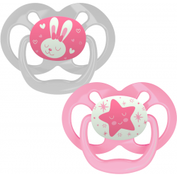 Dr. Brown's Advantage Pacifier - Stage 2, Glow in the Dark, 2-Pack, Pink