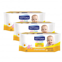 Septona Baby Wipes Chamomile, 64 Pieces X3 Packs