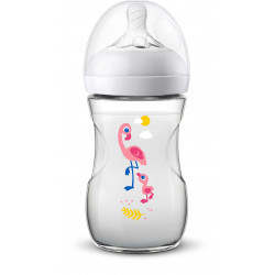 Philips Avent Natural Baby Bottle 260 ml single, Flamingo