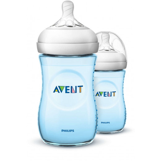 Philips Avent Natural Baby Bottle Slow Flow teat 260 ml, Blue Pack of 2