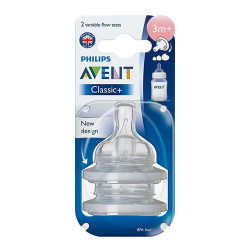 Avent Teat Silicone Var +3 months 2 Units