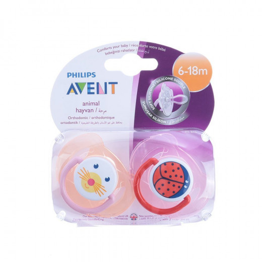 Philips Avent Animal Soother Twin Pack 6-18m, Pink&Red