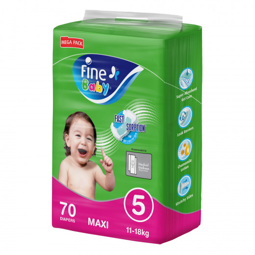 Fine Baby Diapers, Size 5, Maxi 11–18kg, Mega Pack of 70 diapers