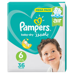 Pampers Baby-Dry Diapers, Size 6, Extra Large, 13+ kg, Jumbo Pack, 36 Count