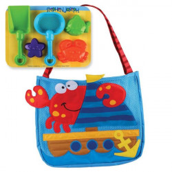 Stephen Joseph Beach Totes with Sand Toy Play Set, Crab