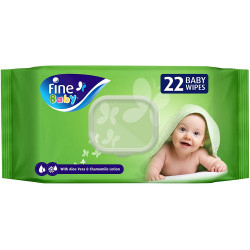 Fine Baby, Wet Wipes, with Aloe Vera & Chamomile Lotion, 22 wipes