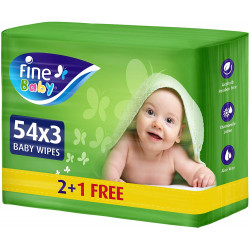Fine Baby, Wet Wipes, with Aloe Vera & Chamomile Lotion, 54 wipes (2+1 Free)