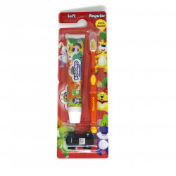 Kodomo 2 in 1 Zig Zag Brush and Toothpaste with Free Small Gift, Orange