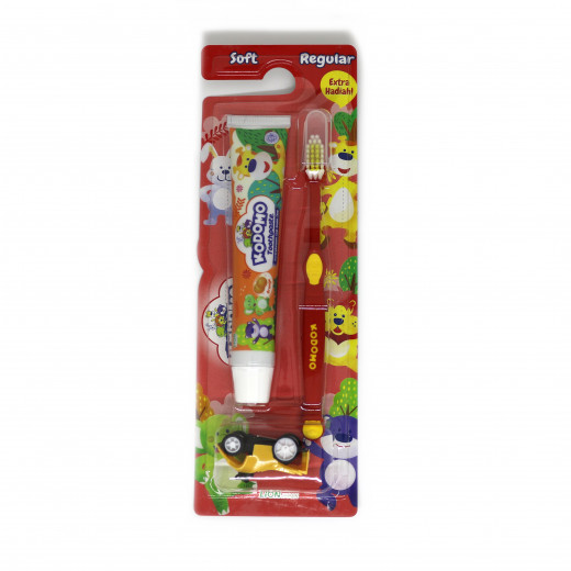 Kodomo 2 in 1 Zig Zag Brush and Toothpaste with Free Small Gift, Red