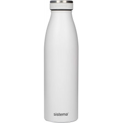 Sistema Stainless Steel Bottle 500ml - White