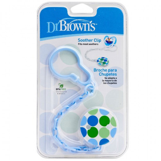 Dr. Brown's Pacifier Teether/Clip - All Plastic - Blue