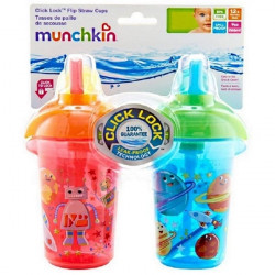 Munchkin Click Lock 9oz Decorated Flip Straw Cup - 2 Pack - Blue&Red