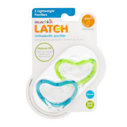 Munchkin Latch  Lightweight Pacifier, 6 Months and Up, 2-Pack, Blue&Green