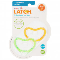 Munchkin Latch  Lightweight Pacifier, 6 Months and Up, 2-Pack, Orange&Green