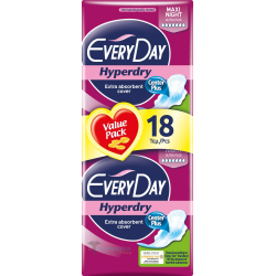 EveryDay Hyperdry Pads Ultra Plus Maxi Night, 18 pads