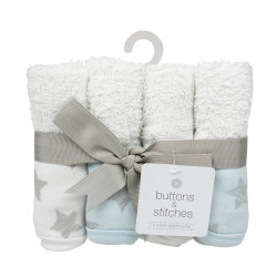 4 Pack Star Print Washcloth