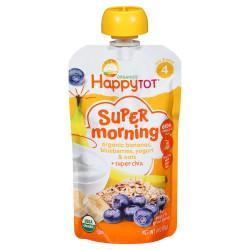 Happy Tot Toddler Food - Organic - Morning Meals - Breakfast Blend - Banana Blueberry Yogurt & Oats, 120 g