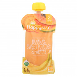 Happy Baby Pureed Baby Food Bananas & Sweet Potatoes, 113 g