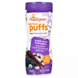 Happy Baby Puffs Purple Carrot & blueberry Puffs - 60 g