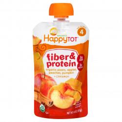 HappyTot Super Fiber & Protein Pouch, Pear, Apple, Peaches, Pumpkin & Cinnamon, 113 g
