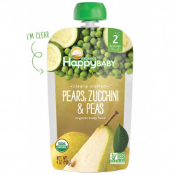 Happy Baby Organics Pears, Zucchini & Peas Pouch, 113 g