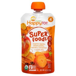 Happy Tot Organic Stage 4 Super Foods Apples Sweet Potatoes Carrots & Cinnamon + Super Chia, 120 g