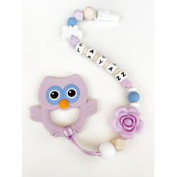 Munch Monsters Pink Rattle Owl Shape with Pacifier Holder and Colored Beds