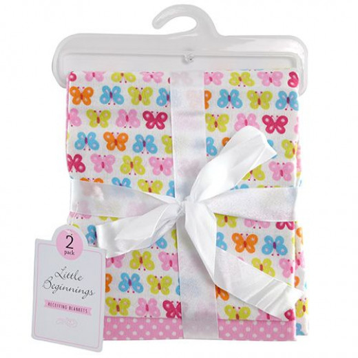 Little Beginnings Baby Girls 2 Pack Receiving Blanket on Hanger