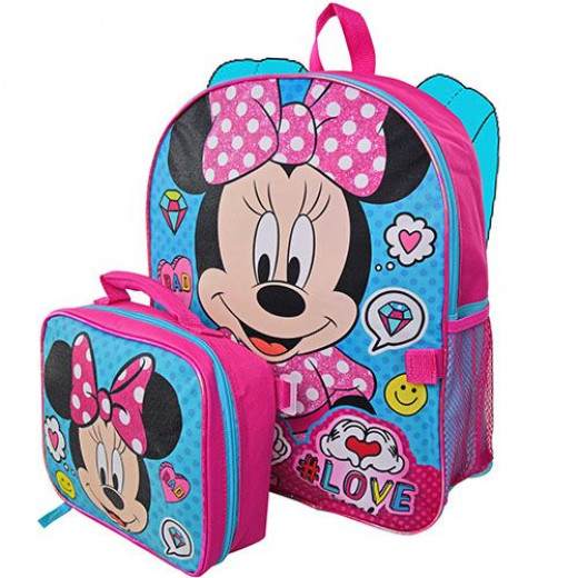 """Minnie 16"""" Backpack with Lunch Bag"""