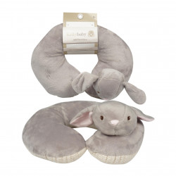 Gray Bear Baby Neck Pillow With Blue Corduroy Trim & Band 10""