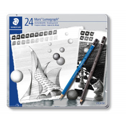 Staedtler Mars® Lumograph® Artists and Drawing Pencils Pack of 24 Assorted Degrees