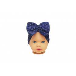 Baby Turban Headband, Navy with White Dots