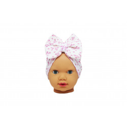 Baby Turban Headband, White with Pink Flowers