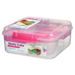 Sistema Bento Cube Box to Go with Fruit, Yogurt Pot, 1.25 L - Pink