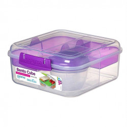 Sistema Bento Cube Box to Go with Fruit, Yogurt Pot, 1.25 L - Purple