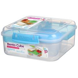 Sistema Bento Cube Box to Go with Fruit, Yogurt Pot, 1.25 L - Blue