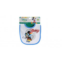 Mickey & Minnie Cotton Baby Bib, Blue