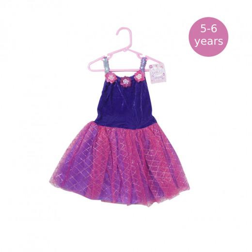 Girls Dress Baby Pink & Purple, 5-6 Years