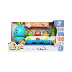 Pull Lime Caterpillar Toy Train, Blue